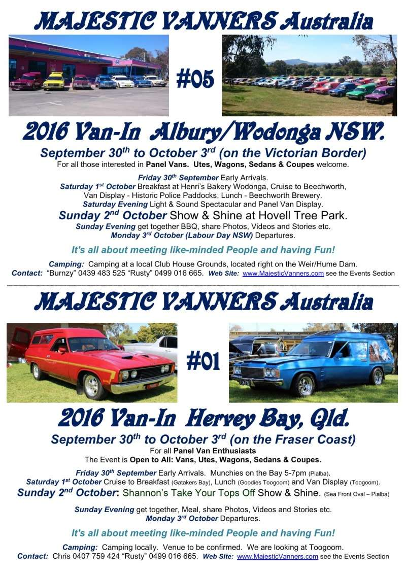 2016 Van-In #05 Albury/Wodonga; #01 Hervey Bay: 30th September to 3rd October. 2016_f16