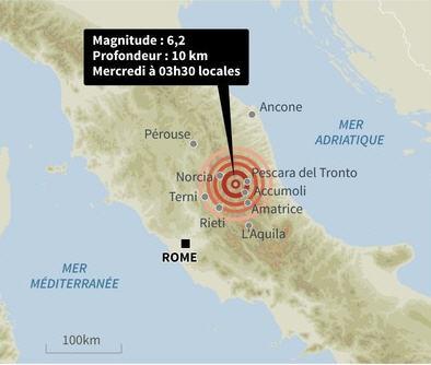 Violent séisme à 150km de Rome Image131