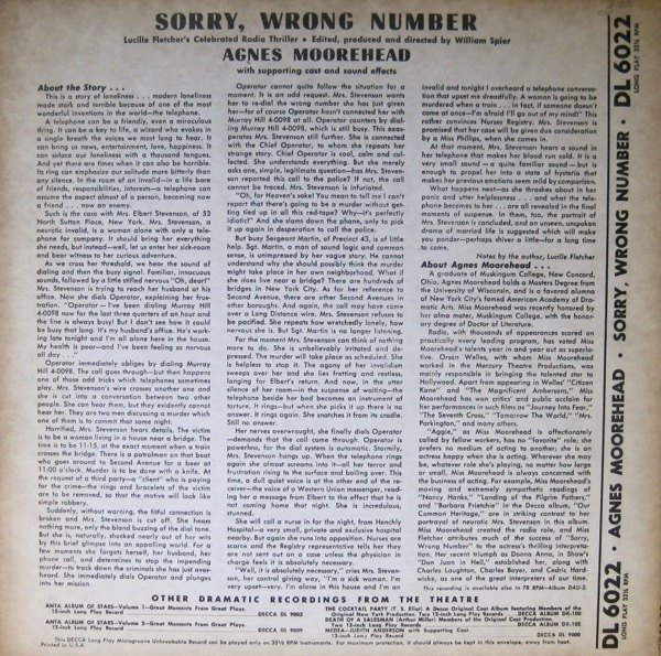 Sorry, Wrong Number - 1947 Decca Record Version Decca_13