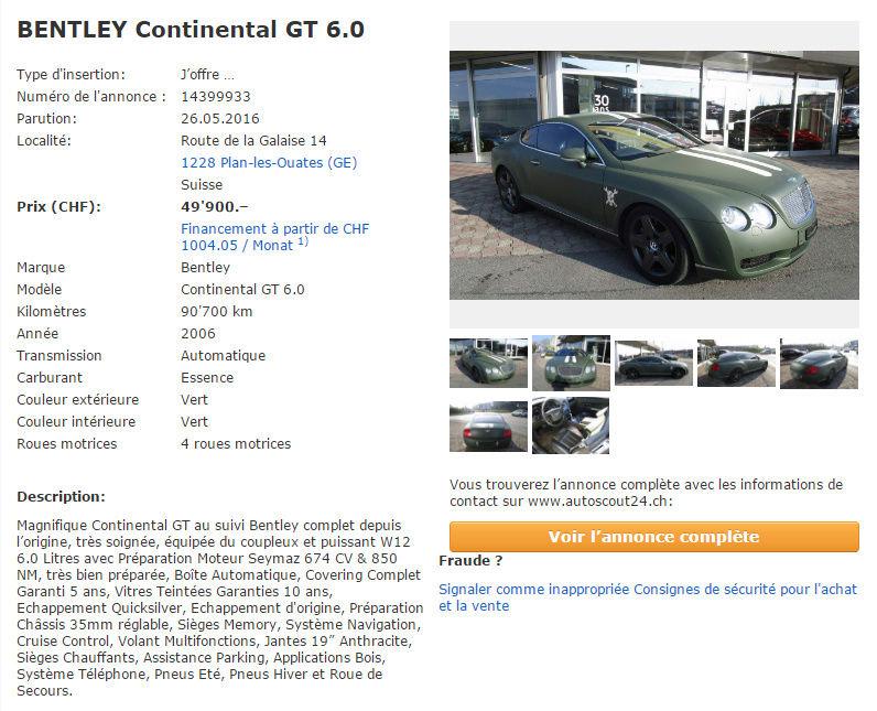 Fiabilité BENTLEY Continental GT 560 ??? Gt67410