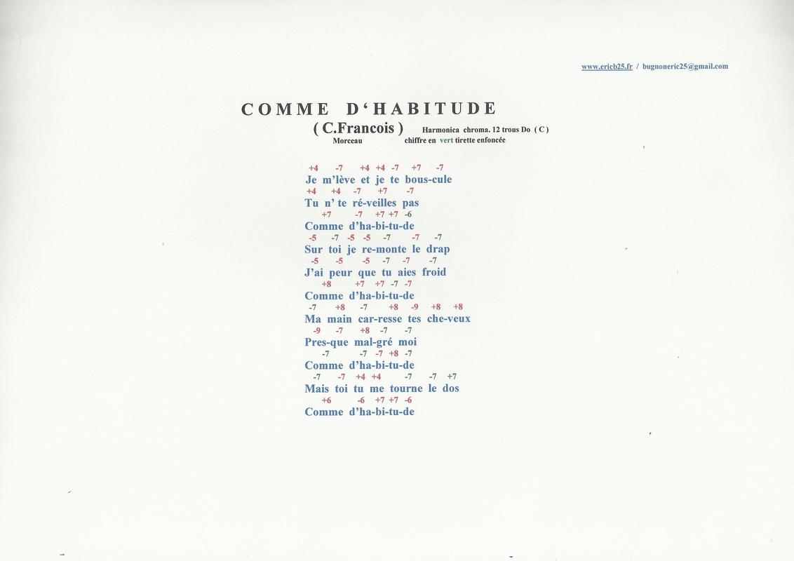 """Tablature """"Comme d'habitude"""" (Claude Francois) Scan0112"""