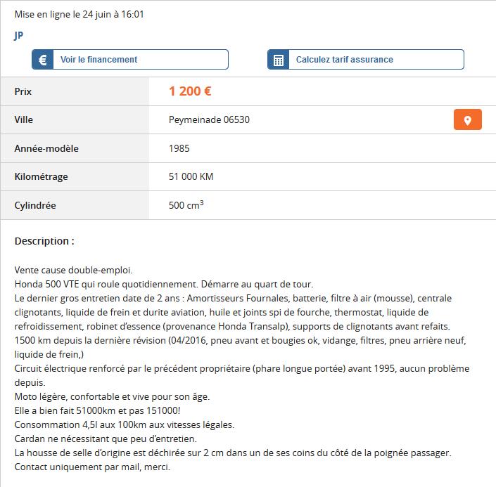 Vend VTE 500 [vendue] Annonc10