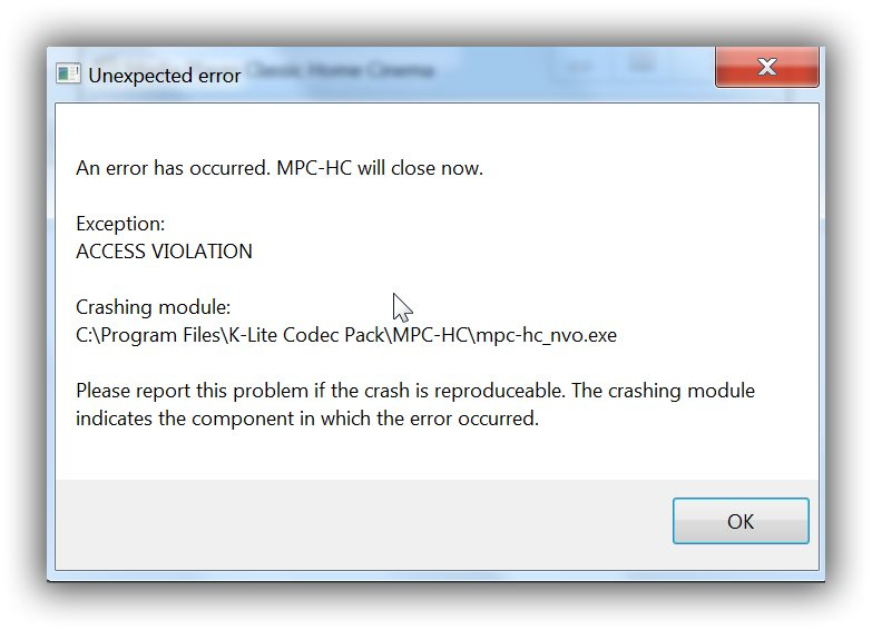 Access Violation when I run MPC K-lite10