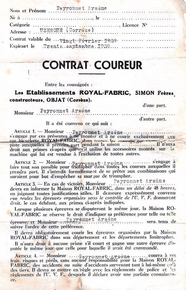 Royal Fabric avec contrat coureur de 1939 13483310