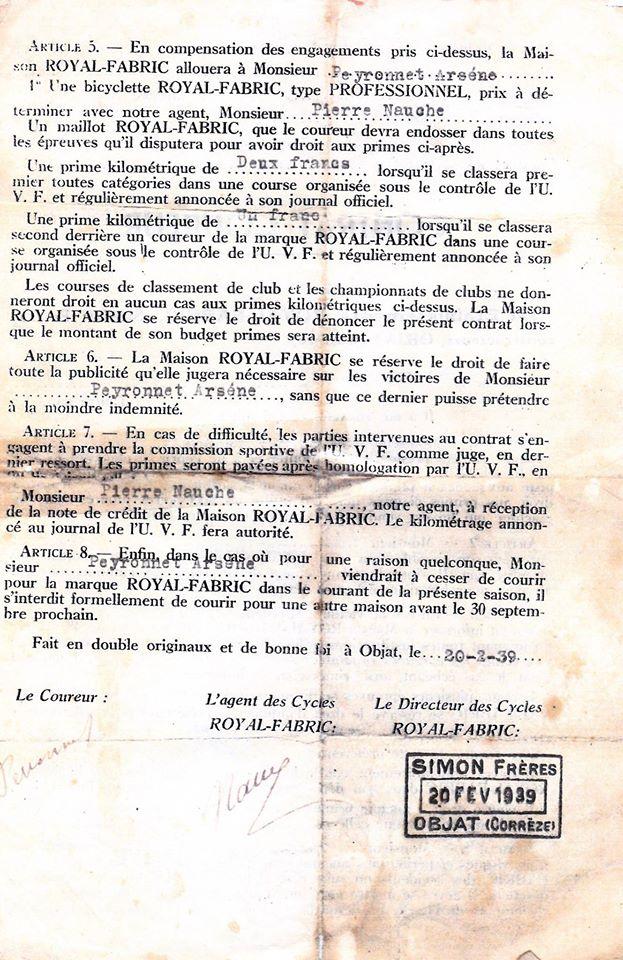 Royal Fabric avec contrat coureur de 1939 13503010