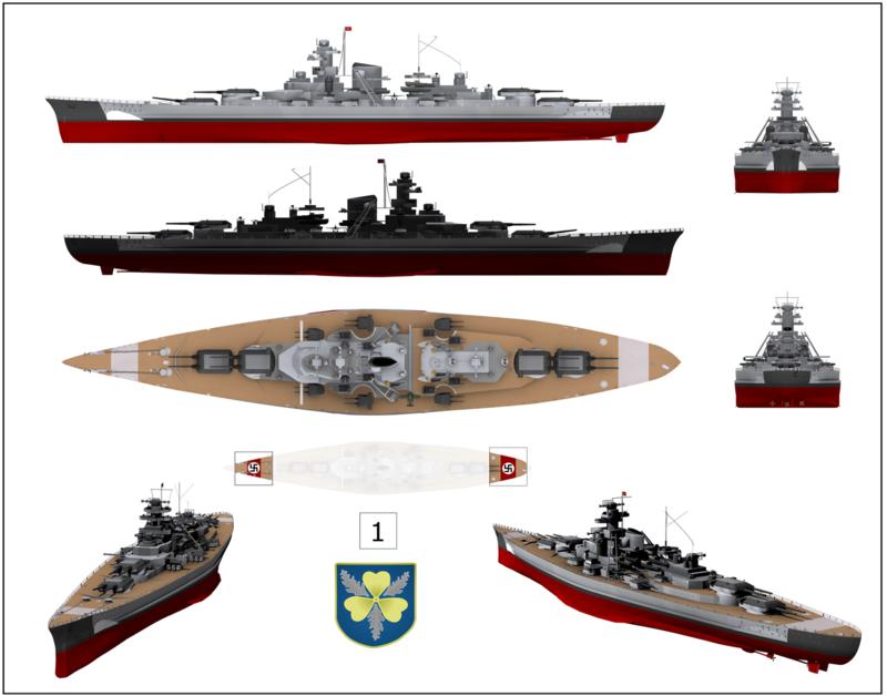 l'Agonie du Bismarck, de fleuron Nazi à mythe naufragé. 1280px11