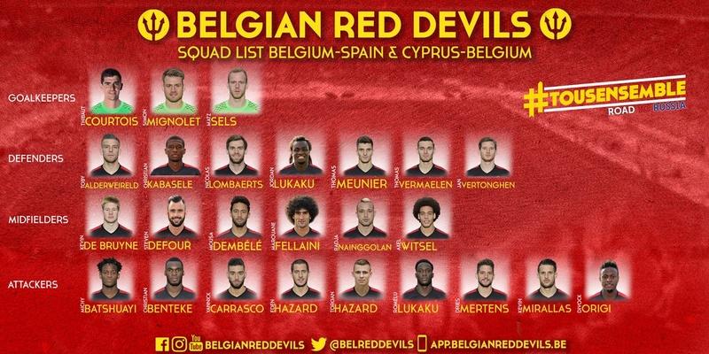 La sélection de Roberto Martinez pour Belgique - Espagne et Chypre -Belgique  Cqxxt-10