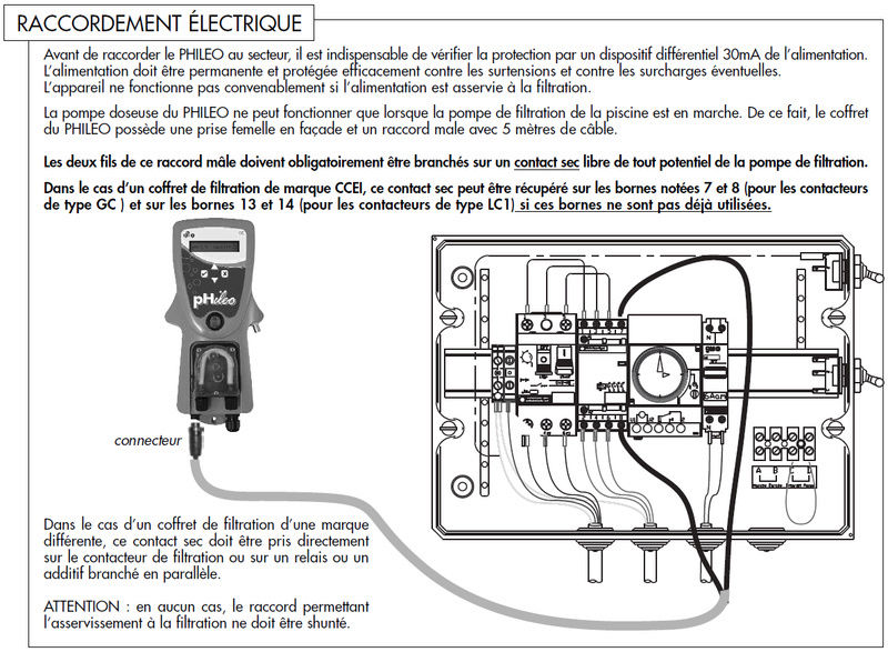branchement contact sec du regulateur PH phileo sur boitier WATRERAIR Raccor11