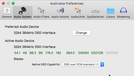 WADIA DI322 NO LOGRO REPRODUCIR DSD EN AUDIRVANA Snapz010