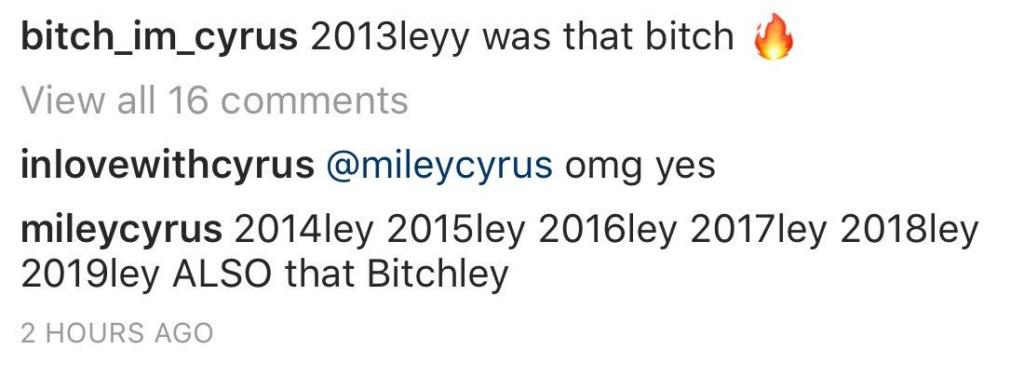 """Miley Cyrus em resposta a fã no Instagram, acaba revelando que em 2019 teremos a grande volta da """"Miley Bitch de 2013"""". Vocês estão preparados para este momento? Img_2026"""