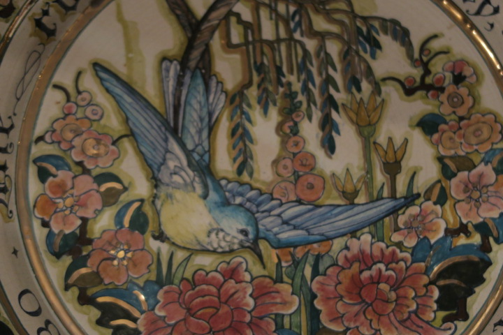 Large Wall Charger,hand painted bird & Script Img_3815
