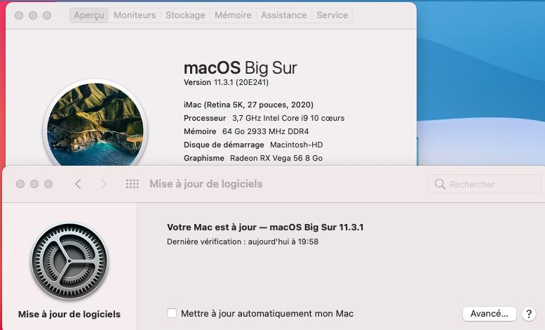 mise à  jour Big Sur 11.3.1( 20E241 ) Captu279