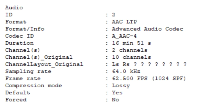 Please add NEW audio codec AAC LTP 2019-010