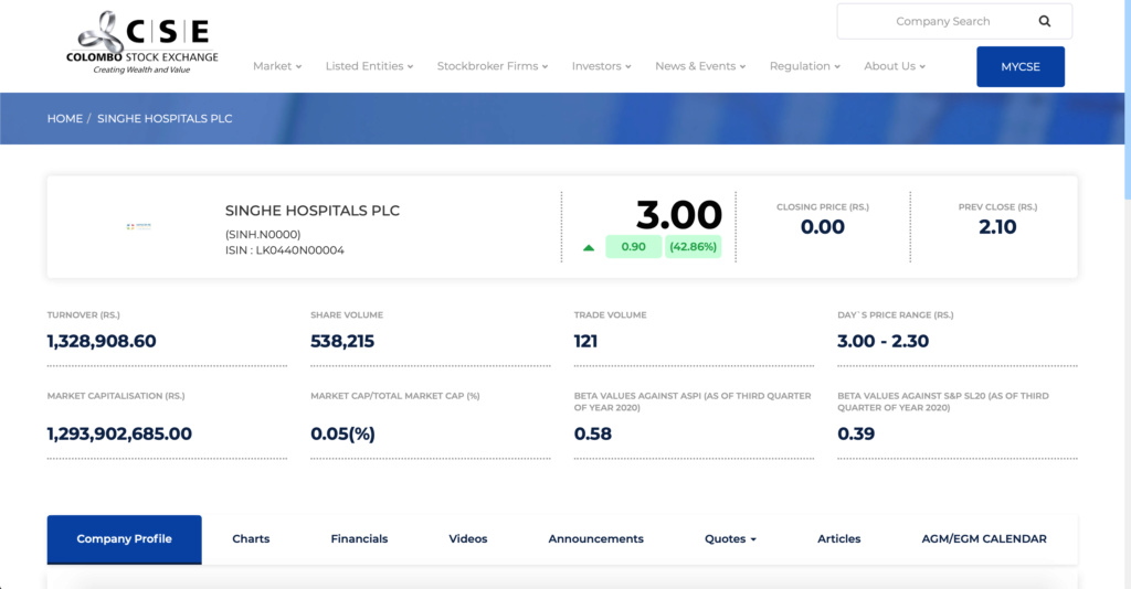 SINGHE HOSPITALS PLC (SINH.N0000) - Page 2 Screen10