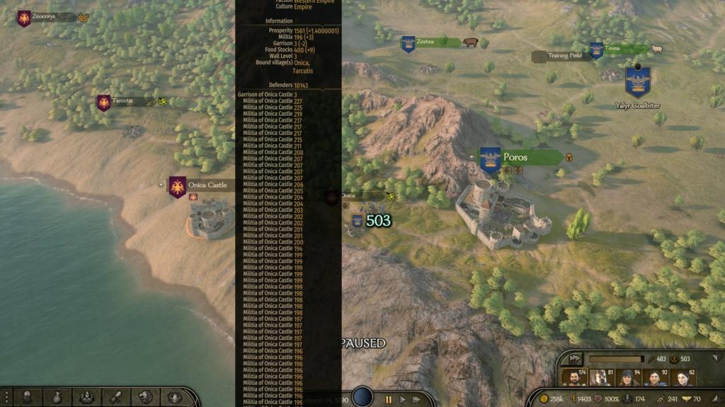 Castillos con 5k+ defensores, alguna ciudad con 12k Absurd10