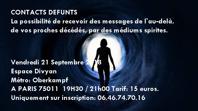 Contacts défunts a 19h30 Espace Divyam Paris 75011 Contac10
