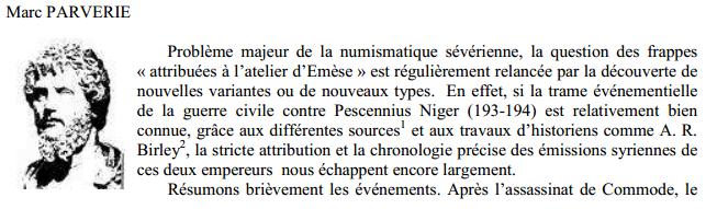 Septime vs Pescennius, Emèse vs Antioche. Emission inédite Articl10