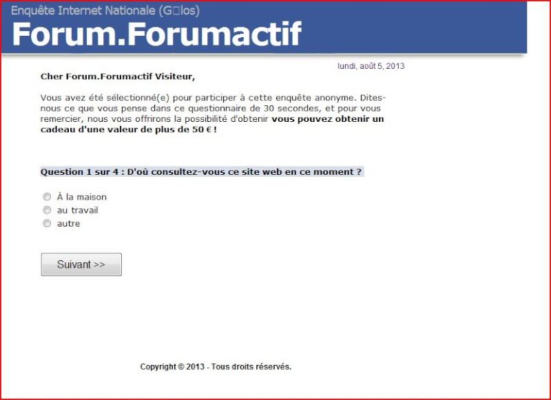 """""""Vous avez été sélectionné, donnez votre avis sur notre forum"""" Pop_up10"""
