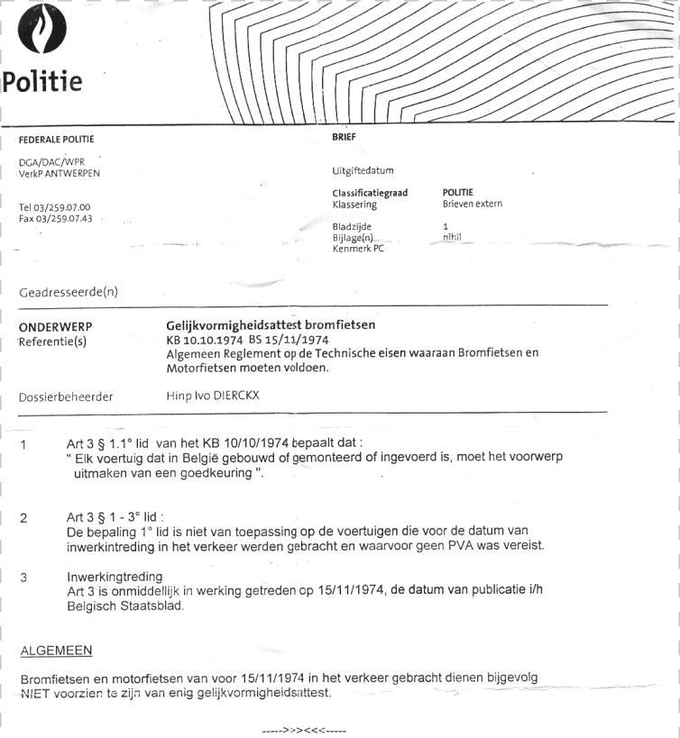 Omzendbrief Politie ivm Gelijkvormigheidsattest Omzend10