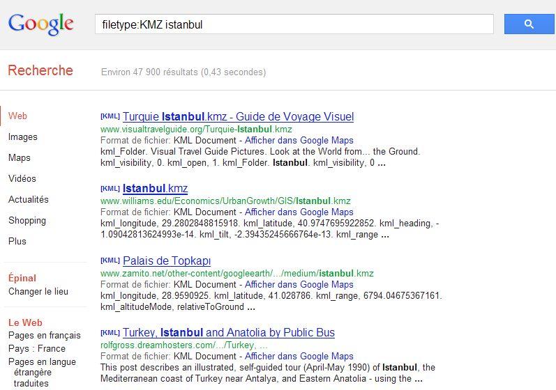 [TUTORIEL] FILETYPE : Comment trouver vos fichiers KML KMZ GPX  etc..... avec Google ? Captu259