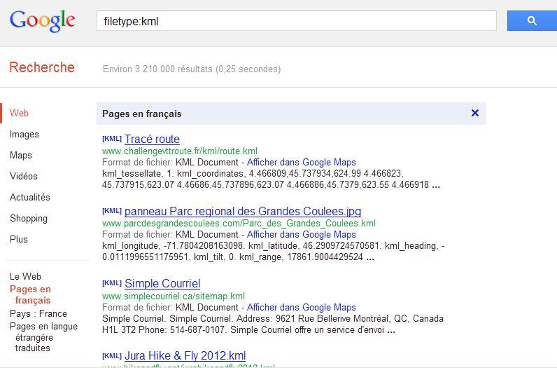 [TUTORIEL] FILETYPE : Comment trouver vos fichiers KML KMZ GPX  etc..... avec Google ? Captu260