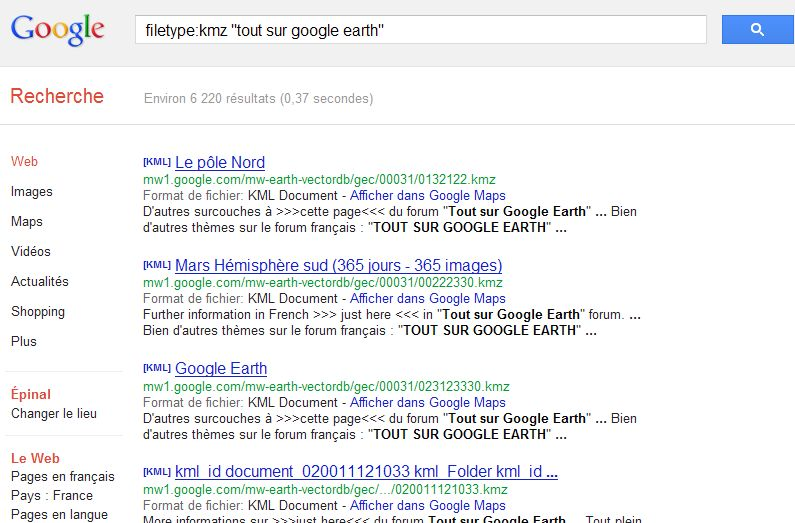 [TUTORIEL] FILETYPE : Comment trouver vos fichiers KML KMZ GPX  etc..... avec Google ? Captu265