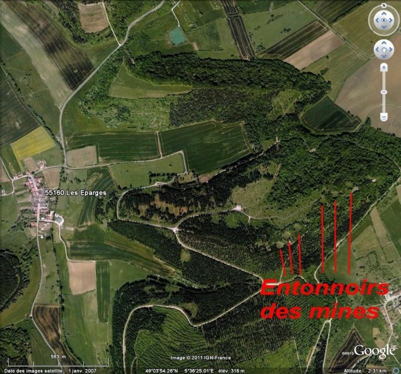 """Vestiges de la """"guerre des mines"""" (Première Guerre Mondiale) visibles dans Google Earth Epa10"""