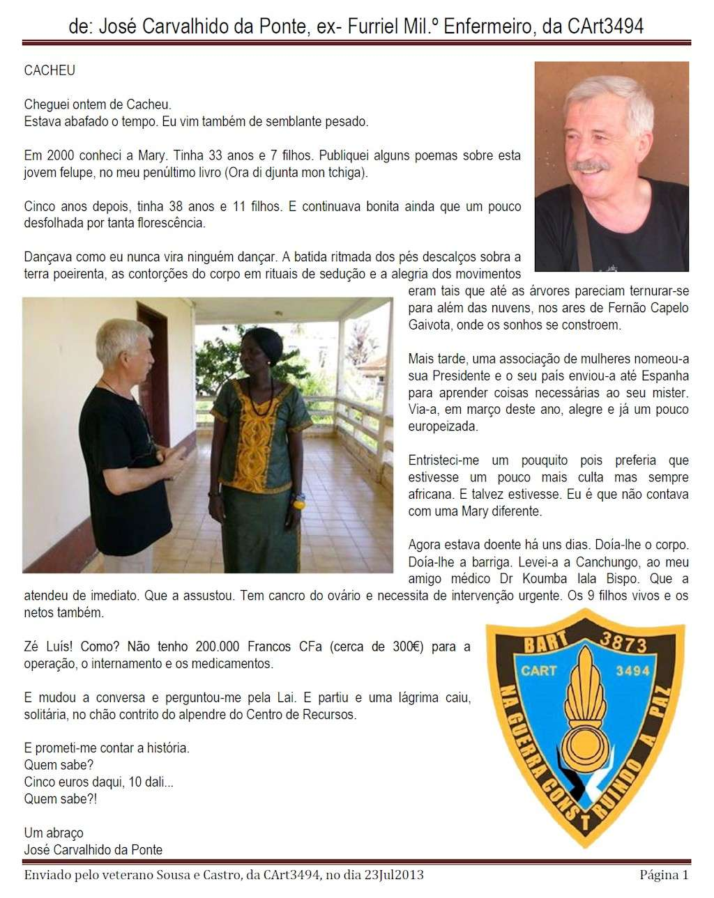 Mensagem do veterano Sousa de Castro, da CArt3494/BArt3873 0111