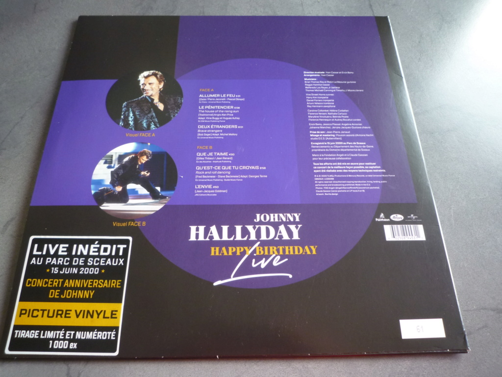 "picture disc, 33 tours ""Johnny HALLYDAY, happy birthday live"" édité par Mercury P1610956"