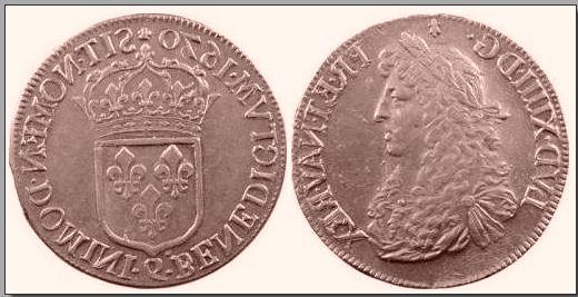 Empreinte en plomb d'un écu de Louis XIV Canula10