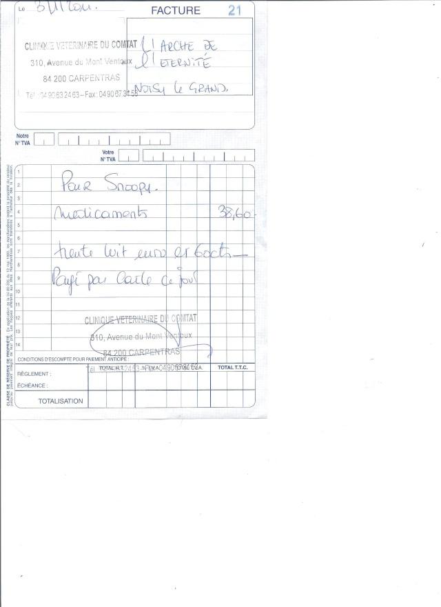 SNOOPY BA LAISSE POUR MORT A L OEIL CREVE ET LA PATTE CASSE EN SOINS INTENSIF - Page 2 Factur14