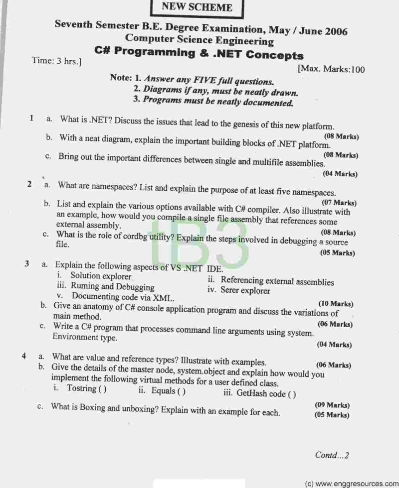 Previous Years Question Papers Required for 7 Sem CSE 6_10