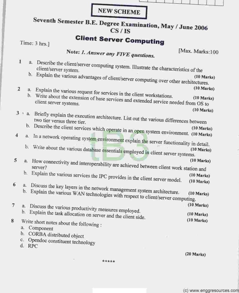 Previous Years Question Papers Required for 7 Sem CSE 7_10