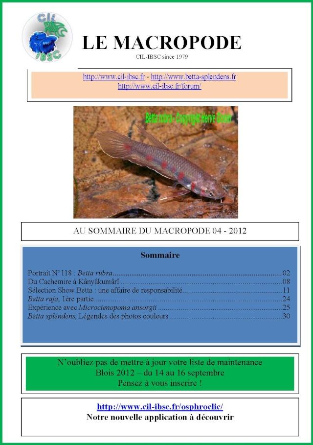 Sommaire de la revue du Macropode. 2012-011