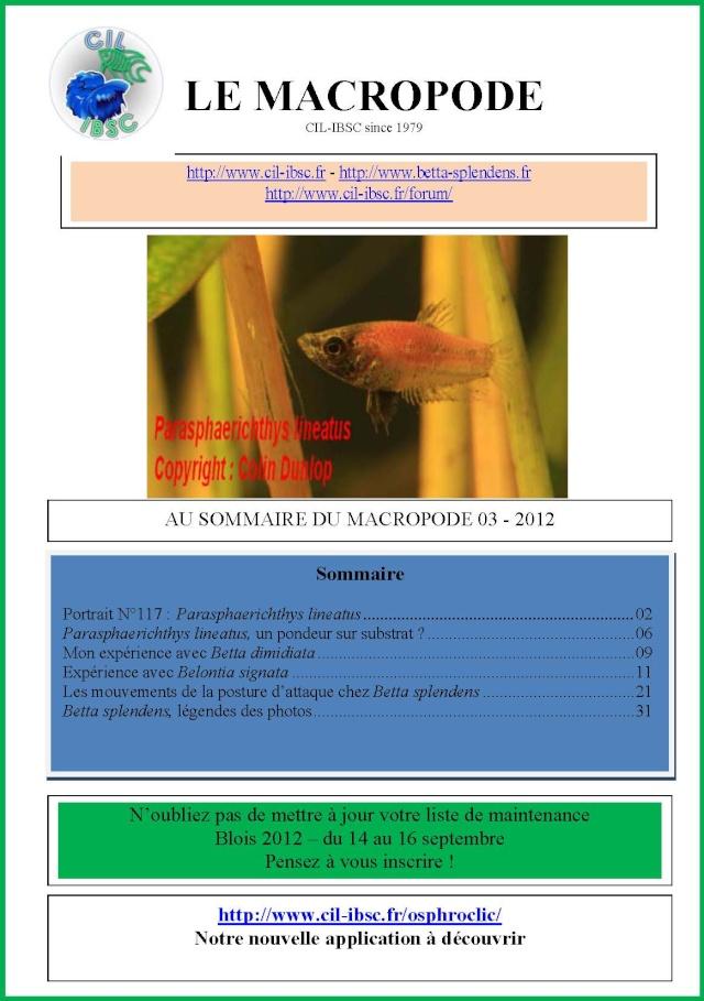 Sommaire de la revue du Macropode. 2012-012