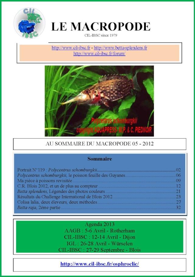 Sommaire de la revue du Macropode. 2012-013