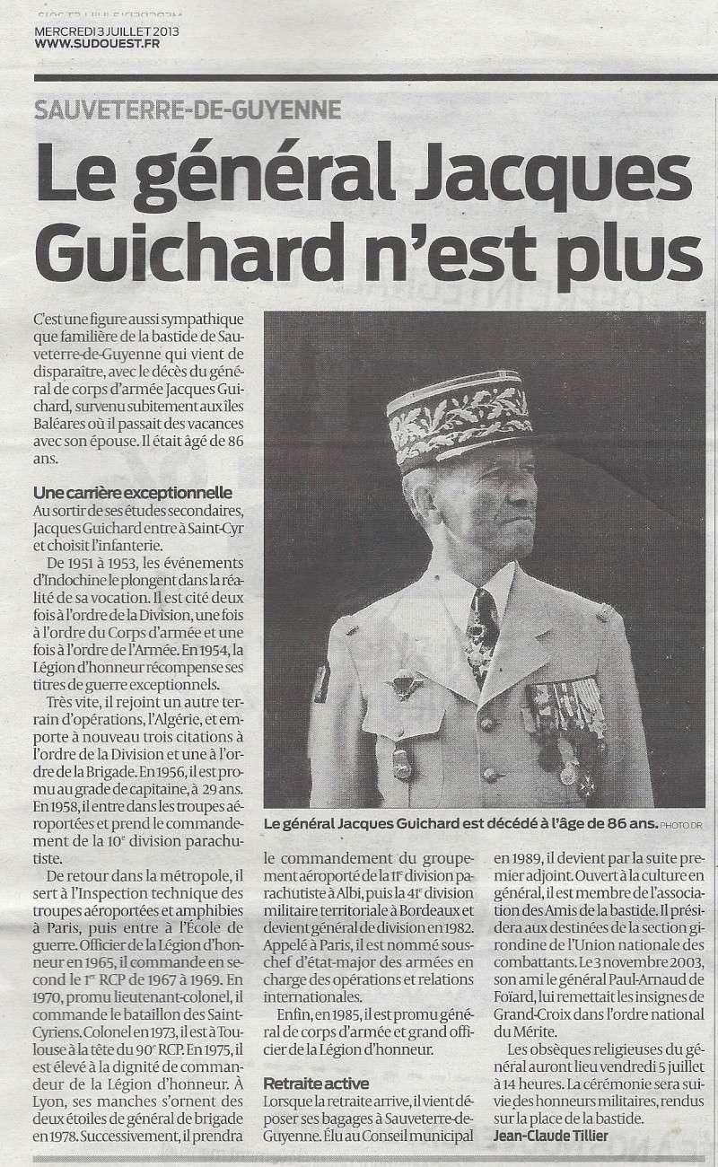 Les obsèques du général Guichard auront lieu vendredi 5 juillet à 14h00 à l'église de Sauveterre de Guyenne. Numari10