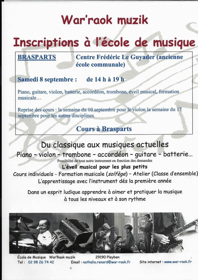 Inscription à l'école de musique (cours à Brasparts) samedi 8 septembre Affich10