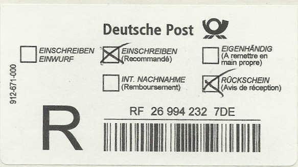 Reco-Aufkleber der Deutschen Post Dreco110