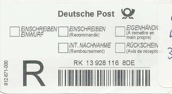 Reco-Aufkleber der Deutschen Post Dreco210
