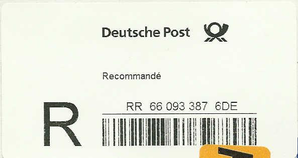 Reco-Aufkleber der Deutschen Post Dreco310