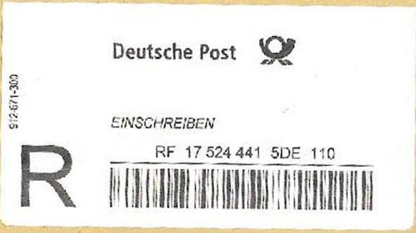 Reco-Aufkleber der Deutschen Post Dreco410