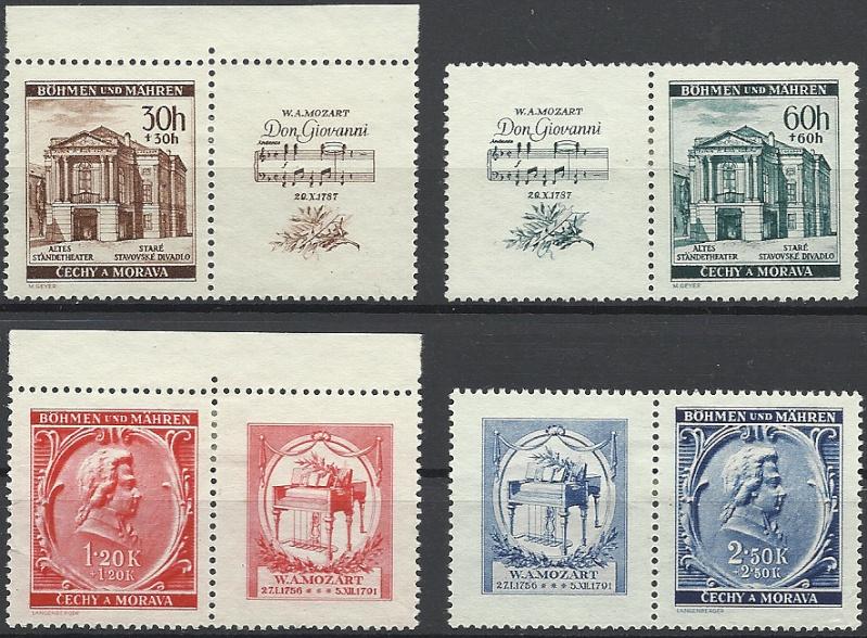 Briefmarken - Briefmarken mit Zierfeldern Allongen (bedruckte Zierfelder) Mozart10