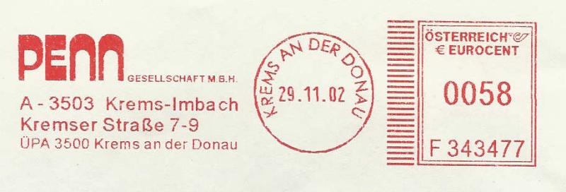 T1000 Freistempel aus Österreich Penn2010