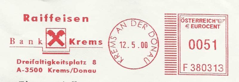 T1000 Freistempel aus Österreich Raiffe10