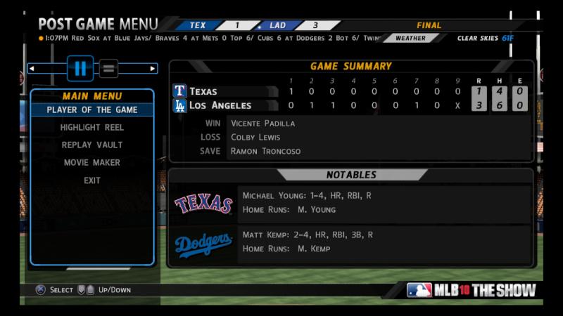 BERRA DIVISIONAL SERIES #1 - Rangers v. Dodgers - July 8 at 9:30p through July 13 at 9:30p - Dodgers Win 3-0 Mlb10_10