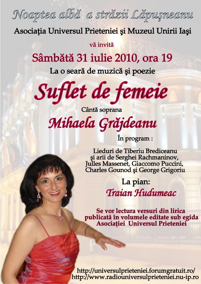 """Noaptea Alba A Strazii Lapusneanu-31 iulie 2010-Seara de muzica si poezie """"Suflet de femeie"""" cu Mihaela Grăjdeanu Afis_310"""