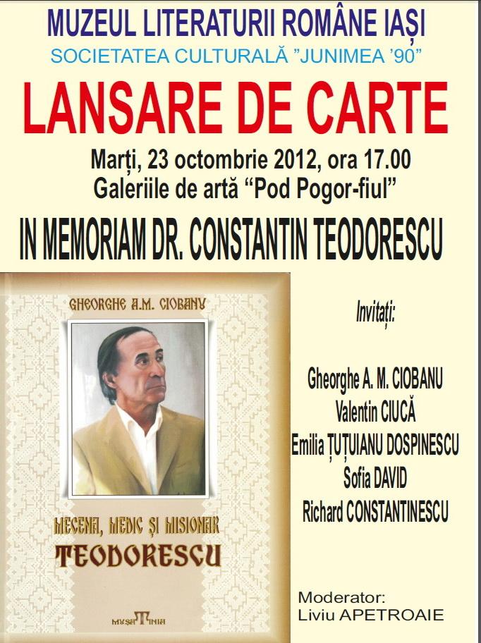 """Lansare de carte:""""Mecena, medic şi misionar Teodorescu"""" de Gheorghe A.M. Ciobanu-23 octombrie 2012 Clip_318"""