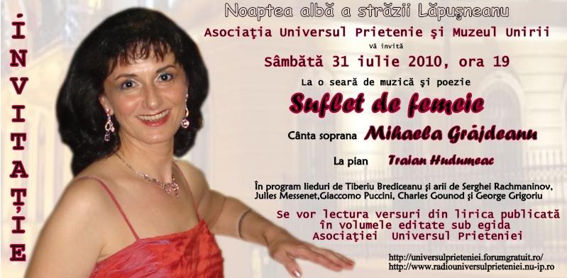 """Noaptea Alba A Strazii Lapusneanu-31 iulie 2010-Seara de muzica si poezie """"Suflet de femeie"""" cu Mihaela Grăjdeanu Invita10"""
