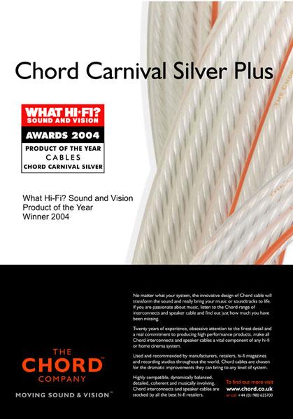 Chord Carnival Silver Plus speaker cables 4.5m x 2 Carniv10